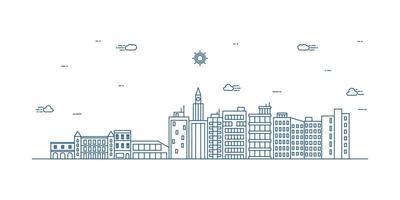 Stadtlandschaftsillustration mit einem dünnen Linienstil. dünne Linie Stadtlandschaft. Vektorillustration.