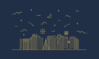 stadslandskap illustration med en tunn linje stil. tunn linje stadslandskap. vektor illustration.