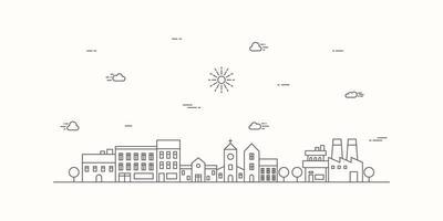 förortslandskap med tunn linje. stadsbild platt linje design. vektor illustration.
