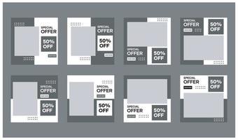 Sammlung von Social Media Template Designs. mit einem schwarzen und weißen Hintergrund. Geeignet für Banner, Social Media Posts und Website Internet Werbung vektor