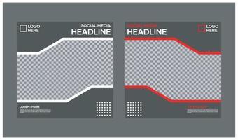 Vektor-Social-Media-Vorlagen. mit schwarzer Hintergrundfarbe und modernem Stil. Geeignet für Social Media Posts und Website Internet Werbung vektor