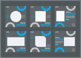 Social Media Template Bundle. mit einem schwarzen Hintergrund und Variationen von Blau. Geeignet für Social Media Posts und Website Internet Werbung vektor