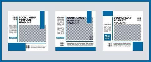 Sammlung von Social-Media-Vorlagen. in Blau. Geeignet für Social Media Posts und Website Internet Werbung vektor
