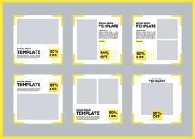 bearbeitbares Social Media Banner Template Bundle. in gelb und weiß. Geeignet für Social Media Posts und Website Internet Werbung vektor