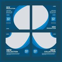 Sammlung von Social Media Template Designs. mit einem dunkelblauen Hintergrund. Geeignet für Social Media Posts und Website Internet Werbung vektor