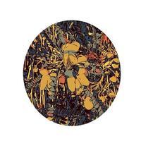 Blume des Kowhai-Baumes färbt Linienkunstoval vektor