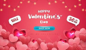 Happy Valentinstag Banner oder Hintergrund mit realistischen 3D-Herzen vektor