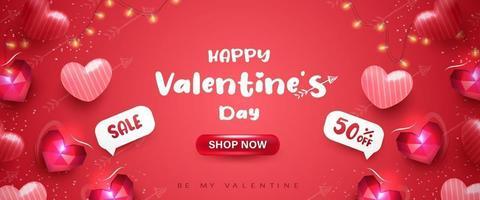 Happy Valentinstag Banner oder Hintergrund mit 3D realistischen Herzen vektor