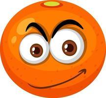 orange Zeichentrickfigur mit glücklichem Gesichtsausdruck auf weißem Hintergrund