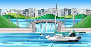 Damm in der Stadtszene mit einem Schiff vektor