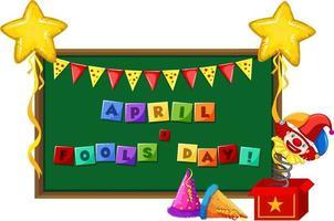 April Fool's Day teckensnitt logotyp på svarta tavlan med jester