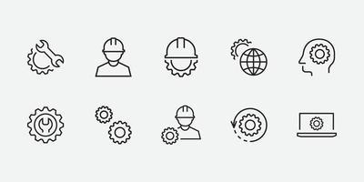 Engineering Icon Set, Einstellungen, Technologie Vektor isoliert für Grafik, Website und Mobile Design