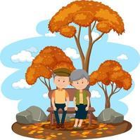 altes verliebtes Paar, das isoliert im Park sitzt vektor