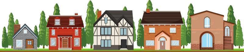 vor Landhäusern auf weißem Hintergrund vektor