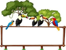 Tom banner med vilda djur och regnskogsträd på vit bakgrund vektor
