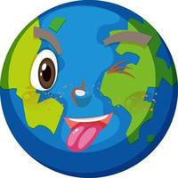 jord seriefigur med styggt ansiktsuttryck på vit bakgrund
