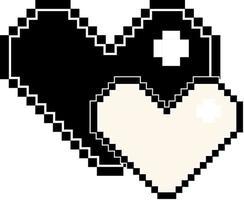 svartvitt pixelhjärta isolerat