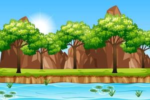 tom park scen med många träd och floden vektor