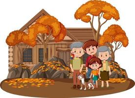 lycklig familj i parken med många höstträd