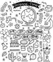 vetenskapliga element i doodle eller skiss stil isolerad på vit bakgrund vektor