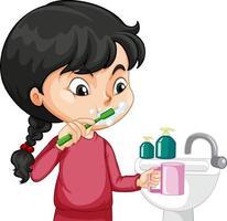 eine Mädchenzeichentrickfigur, die Zähne mit Wasserspüle putzt