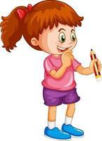 ein Mädchen, das eine Bleistiftkarikaturfigur lokalisiert auf weißem Hintergrund hält vektor
