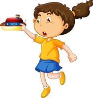 glückliche Mädchenkarikaturfigur, die ein Spielzeugschiff hält