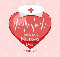 glad internationell sjuksköterskadagsstilsort med korsmedicinsk symbol