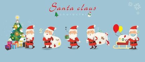 tecknade julillustrationer. rolig glad jultomten karaktär med gåva, väska med presenter, släde och julgran, viftande och hälsning, för julkort, banderoller, taggar och etiketter. vektor
