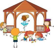 många barn gör olika aktiviteter i lusthus vektor