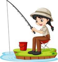 eine Mädchenkarikaturfigur, die auf weißem Hintergrund sitzt und fischt vektor