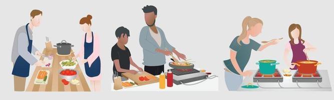 Paar von 3 Familien, die Essen für ihre Mahlzeit vorbereiten. Zubereitung von Speisen für die Zubereitung von Gerichten. Hobbys genießen vektor