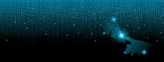 digital datavisualisering, binärt nummer på blå cg-information och fingrar vidrör silhuetten, dekorera med glödlampor och ljusstrålar. vektor