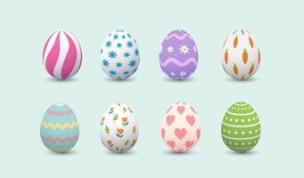 uppsättning realistiska glada påskägg med olika konsistens eller mönster på vit bakgrund. söta äggvektor på vårsemester