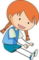 söt flicka doodle seriefiguren isolerade