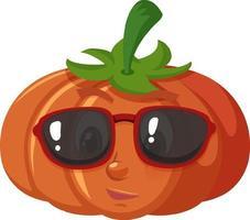 niedliche Kürbiskarikaturfigur, die Sonnenbrille auf weißem Hintergrund trägt vektor