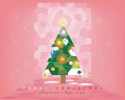 Weihnachtsbaum mit Buntglasfenster auf dem korallenrosa Hintergrund, verziert mit Weihnachtskugeln, Bändern, Partyflaggen, glänzendem Stern, Schneeflocken, Vektorillustration für Flieger, Fahne usw.