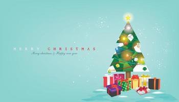 julgran med målat glasfönster på mynta bakgrunden, dekorerad med julgranskulor, band, festflaggor, glänsande stjärna, snöflingor, vektorillustration för flygblad, banner etc. vektor