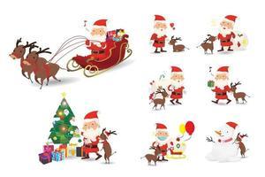 Cartoon Weihnachten Charakter Illustrationen gesetzt. lustiger fröhlicher Weihnachtsmann und Rentier, Tasche mit Geschenken, Schlitten und Weihnachtsbaum, Winken und Begrüßen, für Weihnachtskarten, Banner, Tags und Etiketten. vektor