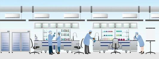 forskare team bär laboratoriedräkt för att göra kemiska experiment, science lab platt vektorillustration.