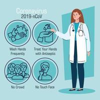 Ärztin mit Empfehlungen zur Beendigung des Coronavirus vektor