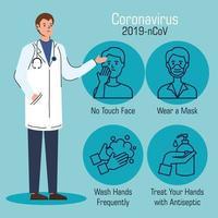 männlicher Arzt mit Empfehlungen zur Beendigung des Coronavirus vektor