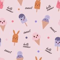 söt glass sömlösa mönster vektor