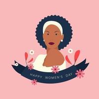 glad kvinnodagsvektormallar med vacker svart kvinna vektor