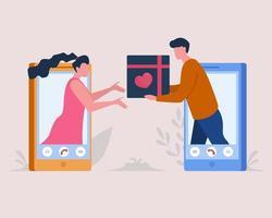 virtueller Valentinstag. Feier zum Valentinstag über große Entfernungen. vektor