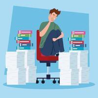 gestresster Mann mit einem Stapel Dokumente