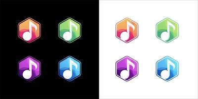 musik ikonuppsättning på vit och mörk bakgrund