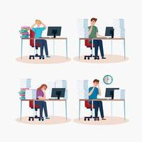 uppsättning människor stressade med arbete vektor