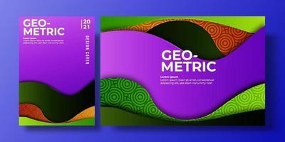 abstrakt färgrikt bakgrundsskydd med lutningsfärg och skugga. geometriska mönster. kan användas för bakgrund, flygblad, årsredovisning, bokomslag, plakat. lila, orange, grön affischmall