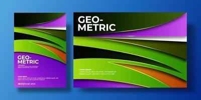 abstrakt färgrikt bakgrundsskydd med lutningsfärg och skugga. kan användas för bakgrund, flygblad, årsredovisning, bokomslag, identitet, plakat. grön, orange, lila, mörk affischmall